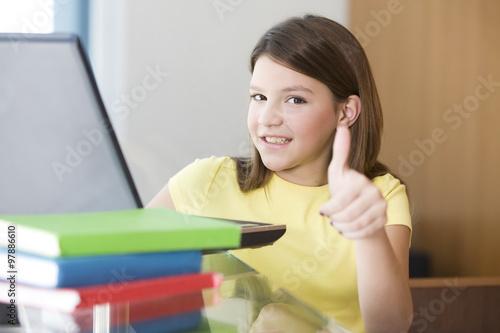 Fotografie, Obraz  Teen student with computer