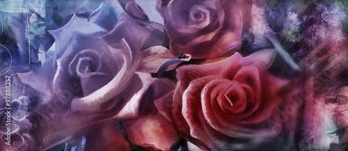 róże malarstwo na płótnie dekoracyjne
