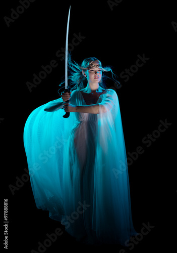 Elven girl with sword #97888816