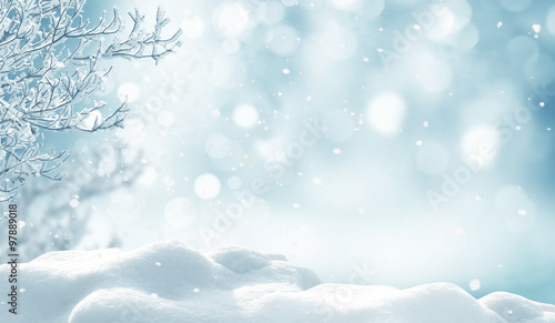 Poster Bleu clair winter christmas background