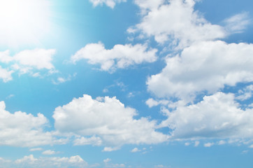 Fototapeta Niebo White clouds and blue sky with sun light.