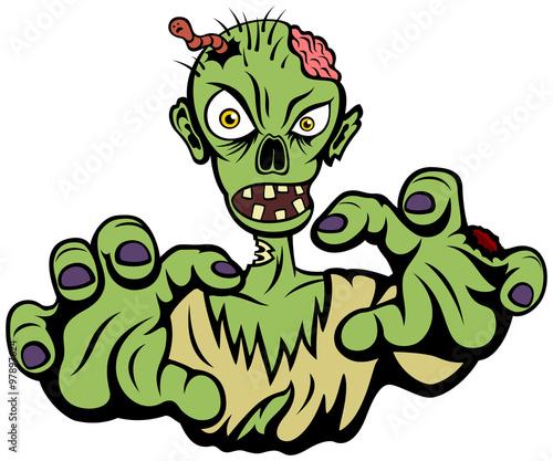 Deurstickers Schepselen Vector illustration of an angry cartoon zombie.