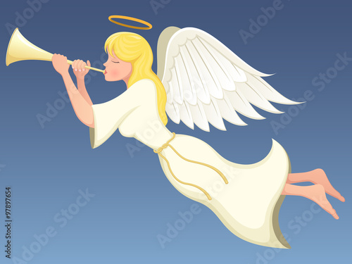 Photo Vector illustration of a winged angel flying and playing a brass horn
