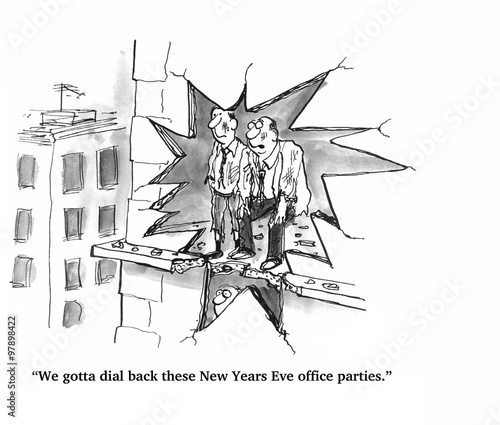 Photo sur Toile Art Studio Cartoon about a wild New Year's Eve party.
