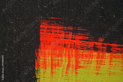 Brushstroke - black,  green and red acrylic paint  on  metal sur #97898492