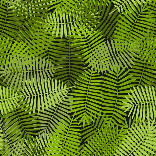 Ingelijste posters Tropische Bladeren exotic green palm leaves seamless pattern