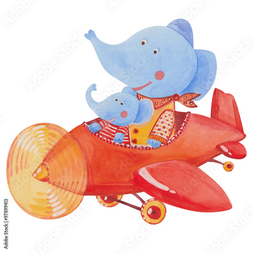 Printed kitchen splashbacks Fairytale World two elephants in the red airplane
