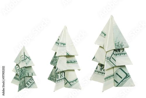 Christmas trees made of hundred dollar bills on a white background - Christmas Trees Made Of Hundred Dollar Bills On A White Background