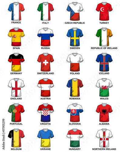 t-shirts with flags of european countries participating to the final tournament фототапет