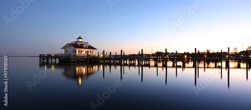 Fotografia, Obraz Roanoke Marshes Lighthouse Manteo NC Outer Banks North Carolina dock in Albemarl