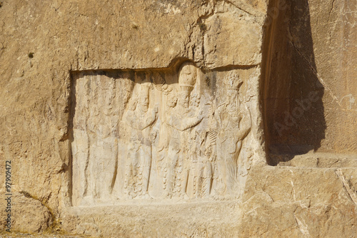 Foto op Plexiglas Artistiek mon. Ancient relief of the necropolis Naqsh-e Rustam near ruins of Pe