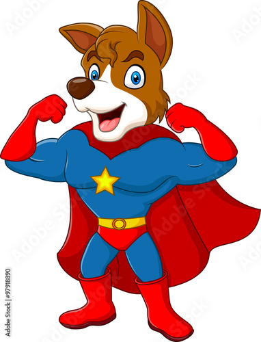 fototapeta na ścianę Cartoon superhero dog posing isolated on white background