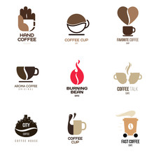 Logo Inspiration For Shops, Companies, Advertising Or Other Business With Coffee