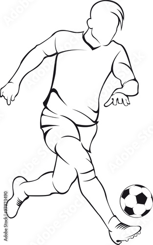 Football (soccer) player. Vector linen silhouette - 97923490