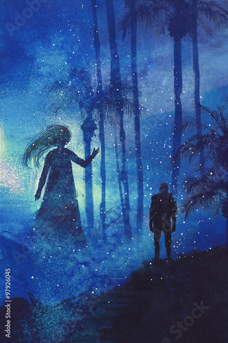 encounter between man and ghost in mysterious dark forest,illustration painting