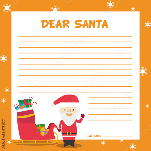 Plantilla De Carta A Papa Noel En Ingles Para La Navidad Con