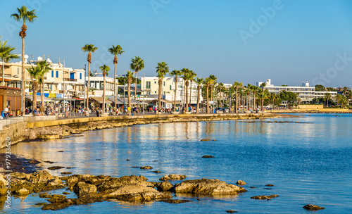 Spoed Foto op Canvas Cyprus View of embankment at Paphos Harbour - Cyprus
