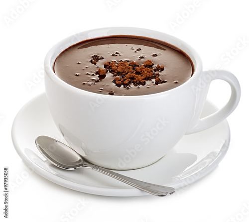 Poster Chocolade Hot chocolate close-up isolated on a white background.