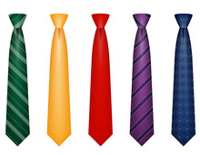 Set Icons Colors Tie For Men A...