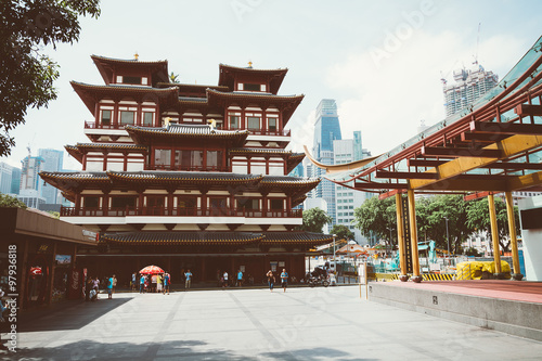 SINGAPORE - JULY 17 2015 : Buddha tooth relic temple at Chinatow Poster