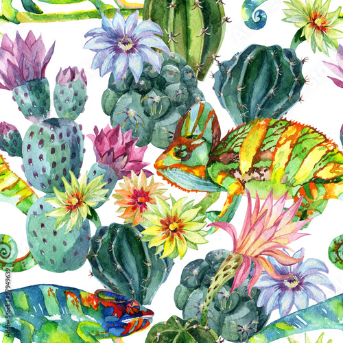 Poster de jardin Aquarelle la Nature Watercolor seamless cactus pattern