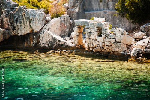 Fotobehang Midden Oosten Ancient submerged city in Kekova