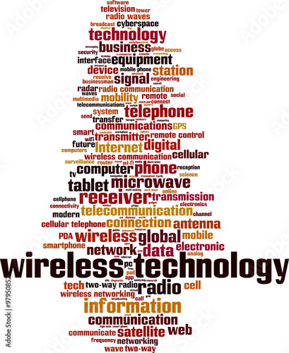 Valokuva  Wireless technology word cloud concept. Vector illustration