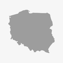 Map Of Poland In Gray On A White Background