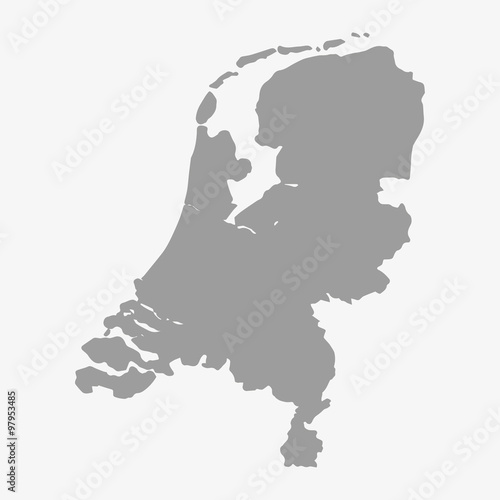 Fotografie, Obraz  Map of Netherlands in gray on a white background