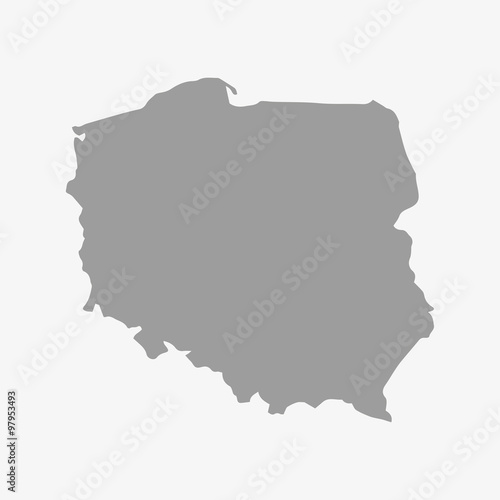 Map of Poland in gray on a white background Wall mural