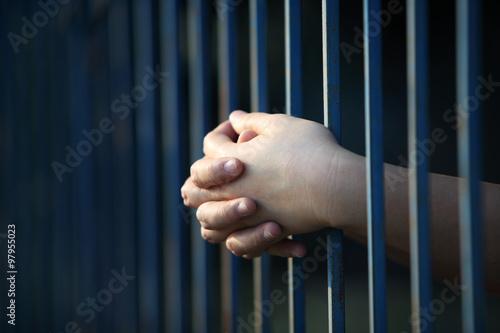 prisoner hand in jail Wallpaper Mural