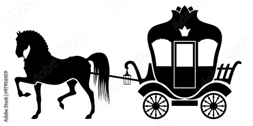 Carta da parati Silhouette carriage and horse
