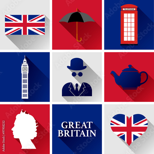 great britain flat icon set set of vector graphic flat icons