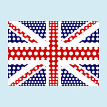 National British Flag Of The United Kingdom Of Great Britain And Northern Ireland With Correct Proportions And Color Scheme With A Texture. Vector
