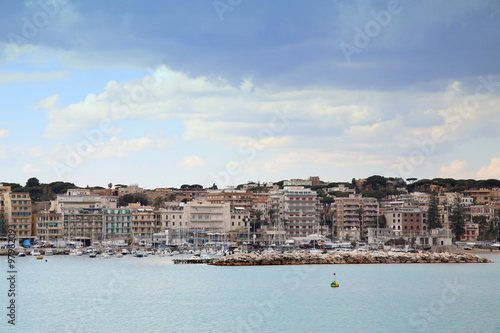 Panoramic view of Anzio and Nettuno old town, Italia Canvas Print