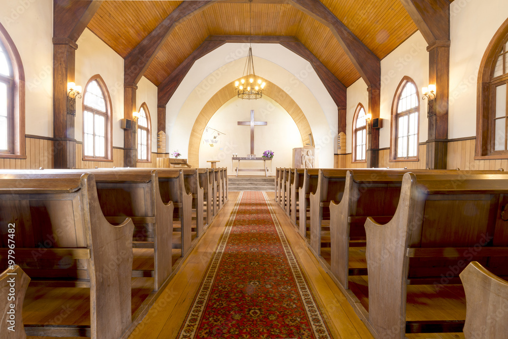 Fototapety, obrazy: CHURCH, FRUTILLAR-NOV 16, 2015: located in southern Chile in the Los Lagos Region. The bay of Frutillar is placed on the banks of Lake Llanquihue, the largest lake entirely within Chile.