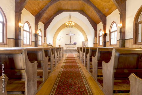 Cadres-photo bureau Lieu de culte CHURCH, FRUTILLAR-NOV 16, 2015: located in southern Chile in the Los Lagos Region. The bay of Frutillar is placed on the banks of Lake Llanquihue, the largest lake entirely within Chile.