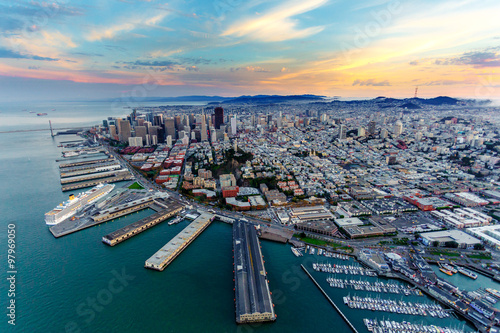 Canvas Prints San Francisco Aerial view of San Francisco at sunset