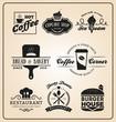 Set of food and drink badges logo for label, sticker, printing, banner design. Vector illustration