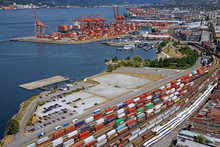 Busy Seaport With Container Tr...