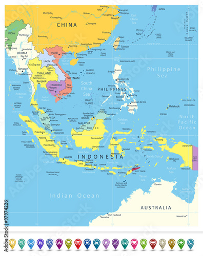 Southeast Asia Political Map and Navigation Icons – kaufen Sie diese ...