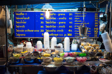Dessert Stall At A Night Market Near Khao San Road, Bangkok.