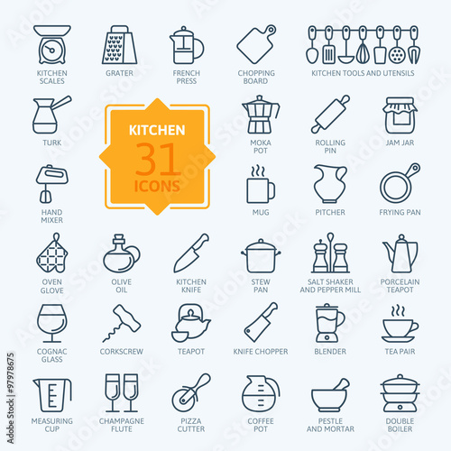 Cuadros en Lienzo  Outline icon collection - cooking, kitchen tools and utensils