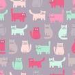 Cute cats. Vector seamless pattern with funny cats. Color background for children. Pastel colors.