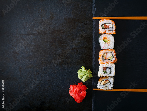 Stickers pour porte Sushi bar Traditional Japanese food - rolls and futomaki. Top view