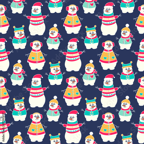 Cotton fabric Snowman winter seamless pattern. Hand drawn doodle snowmen family. Bright colors - red, yellow, green and white.