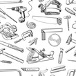 Vector seamless pattern with hand drawn common tools used by carpenters