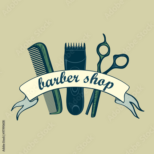 Vintage Barber Shop Label Fototapet