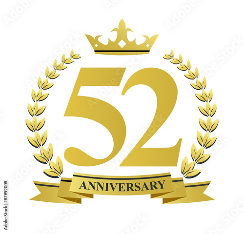 Fotografia  52 anniversary with golden wreath, ribbon and crown
