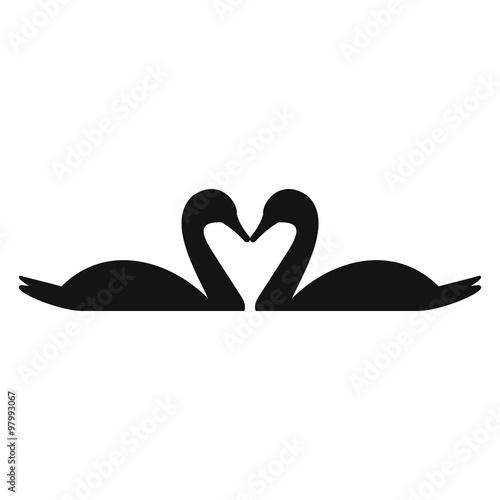 Fotografia Couple of swans simple icon